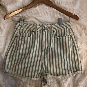 TOPSHOP light green high waisted striped shorts